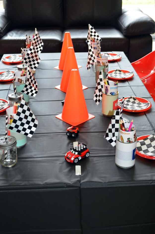 retro racing car birthday party candy buffet ideas
