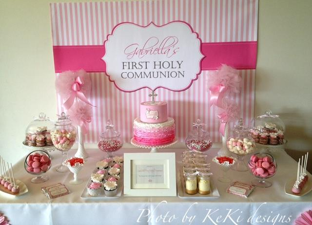 Pink And White Themed First Holy Communion For Gabriella