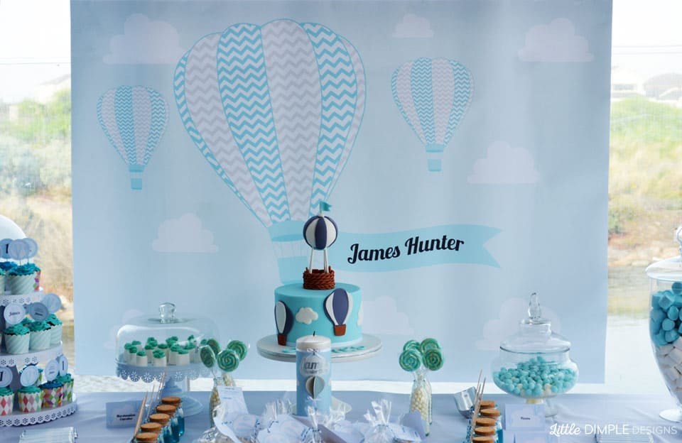 hot air balloon 1st birthday and baptism candy buffet balloon decoration for christening party