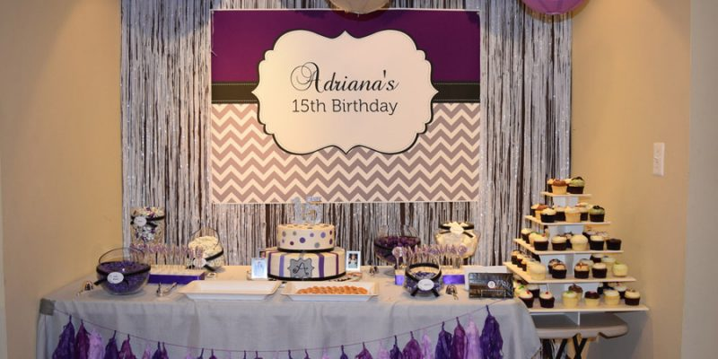 Purple, Silver, Black 15th Birthday Party for Adriana