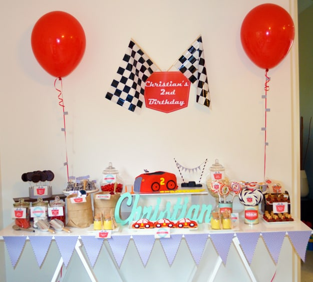 Retro Racing Car Birthday Party Table