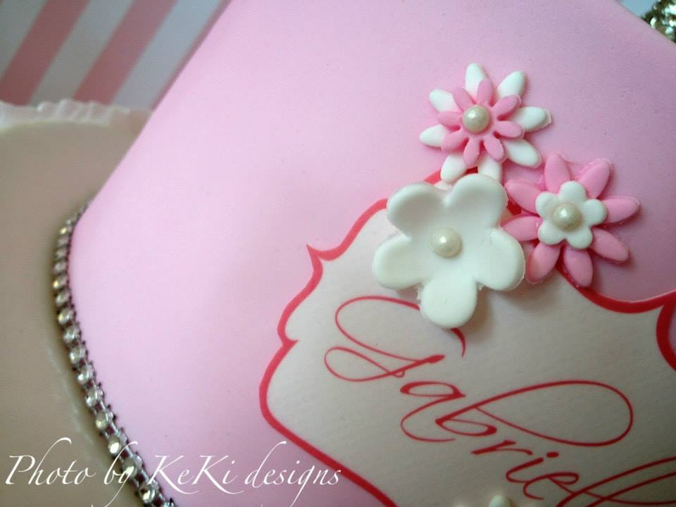 Girl's Pink and White First Holy Communion Cake