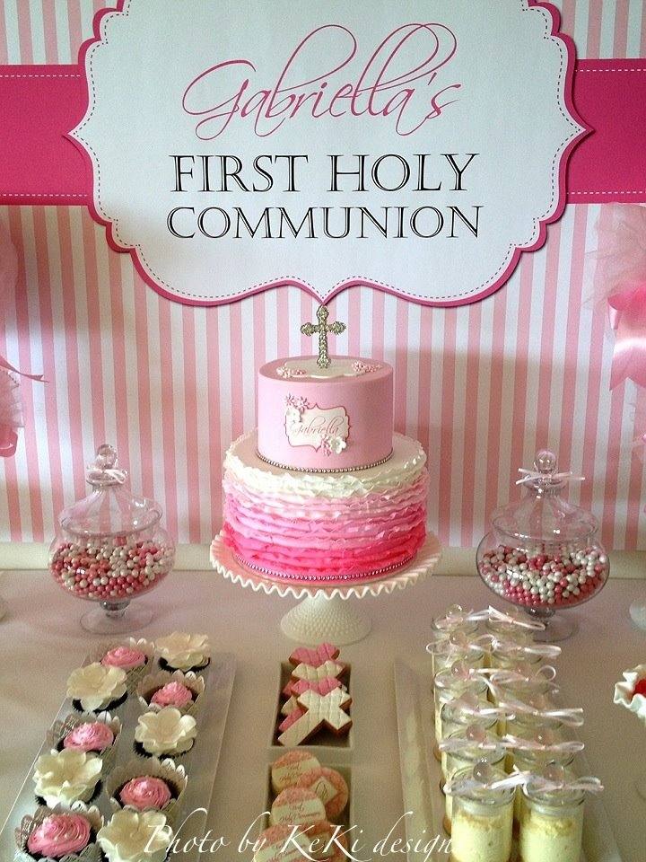 Girl's First Holy Communion Pink and White Backdrop and Cake
