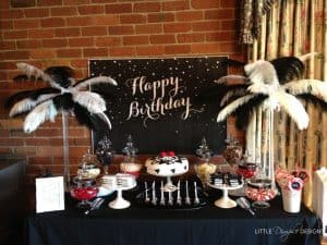 Classy Black and White Birthday Party Candy Buffet