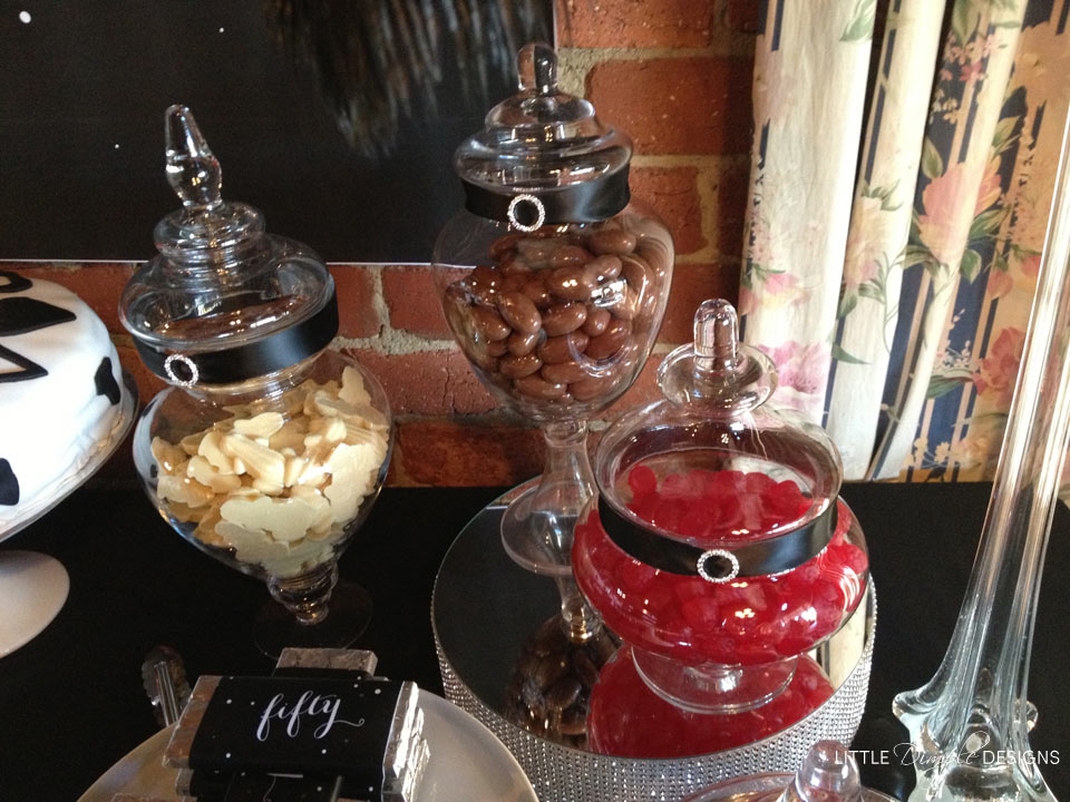 Classy 50th Birthday Party Candy Buffet