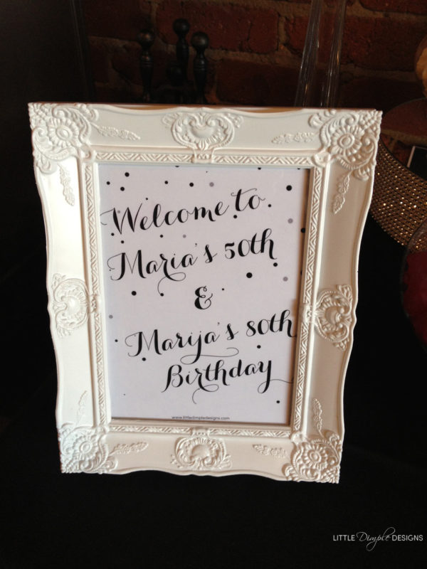 Black and White Theme Party Table Sign Also Available