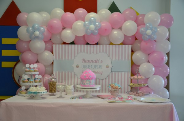 Cute As A Cupcake 1st Birthday Party Candy Buffet Little Dimple