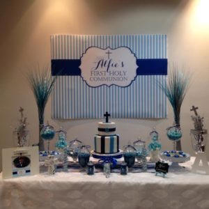 Navy and Blue Stripes Holy Communion Backdrop