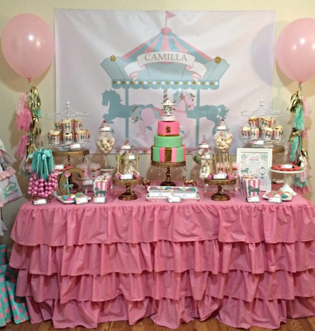 Girl's Carousel Backdrop in Pink, Mint and Gold Glitter