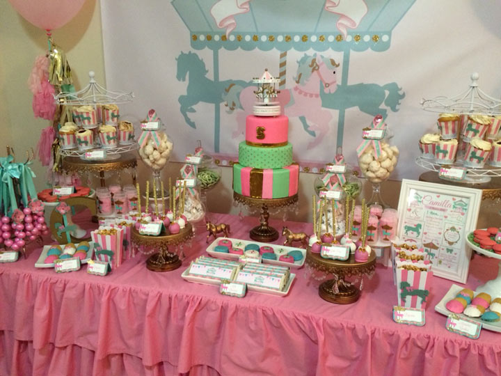 Pink And Turquoise Carousel Candy Buffet Party Table