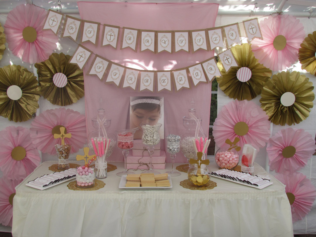 Pink and gold baptism candy buffet little dimple designs for Baby girl baptism decoration ideas