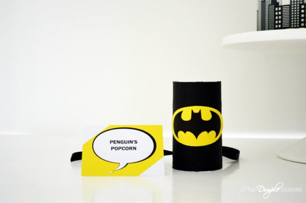 Batman food labels and bat logo