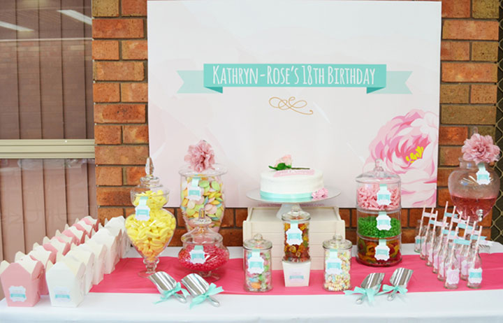 18th Birthday Party Candy Buffet in Pink Blush and Mint