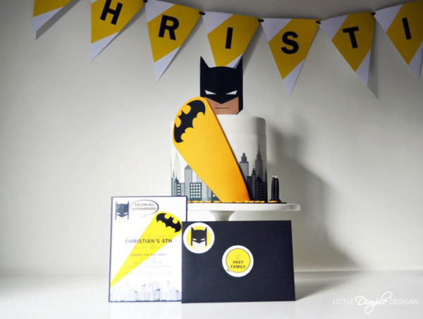 Batman Invitation with matching cake