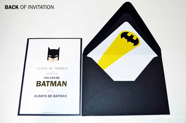 Batman Invitation - back - with envelope liner