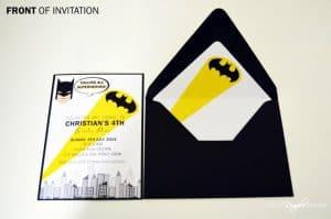 Batman Superhero Invitation - front - with envelope liner