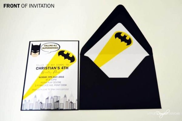 Batman Superhero Invitation - front - with envelope liner