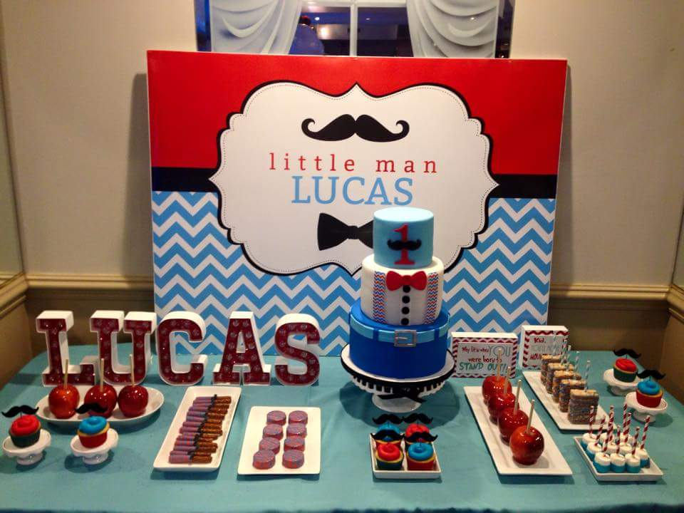 Little Man Backdrop in Red and Blue