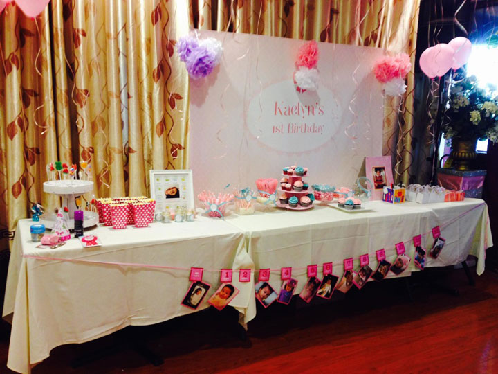 Pink and White Lace 1st birthday party table - side view