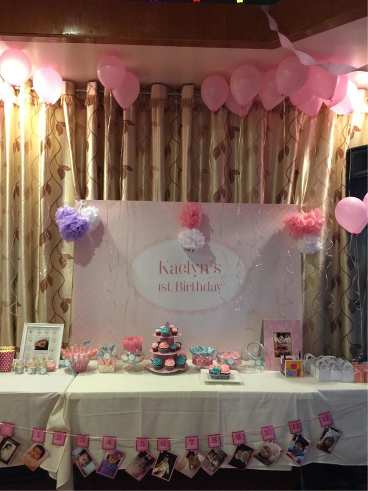Pink and White Lace 1st birthday party