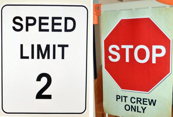 Retro Racing Car Road Signs