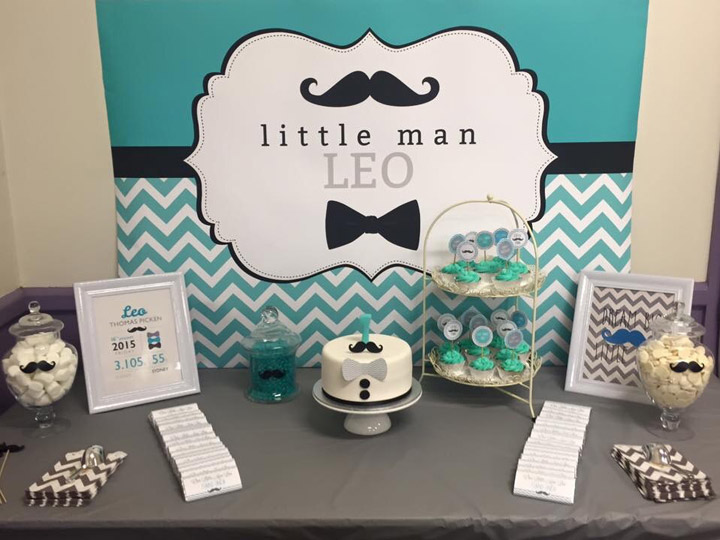Little Man Backdrop in Turquoise