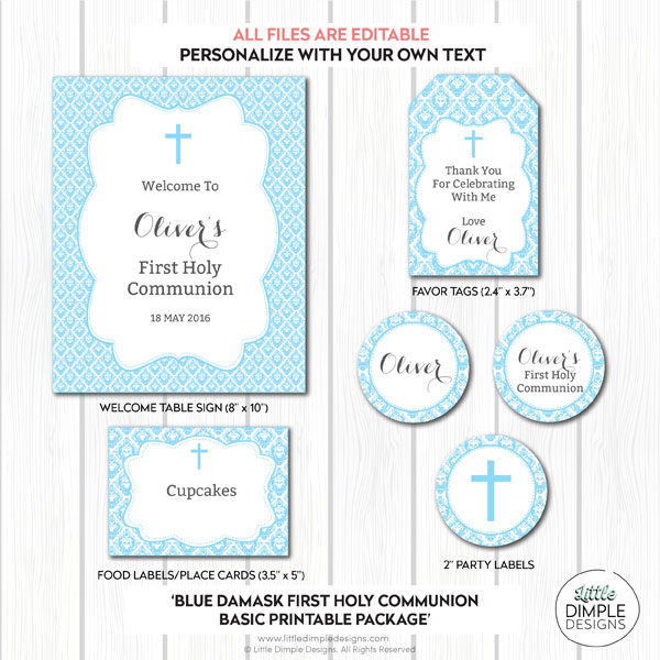 Baptism Party Decor Blue Gray