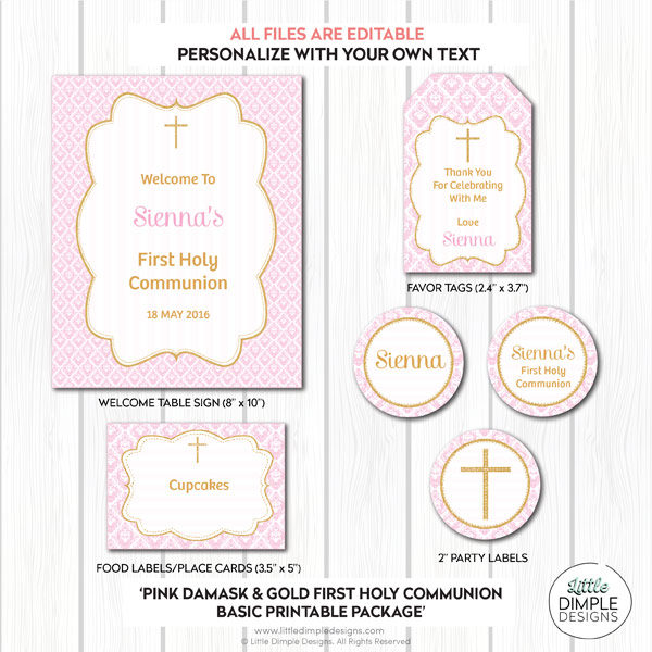 Communion Decor Pink Gold