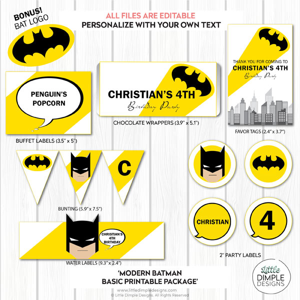 Modern Batman Basic Printable Party Pack