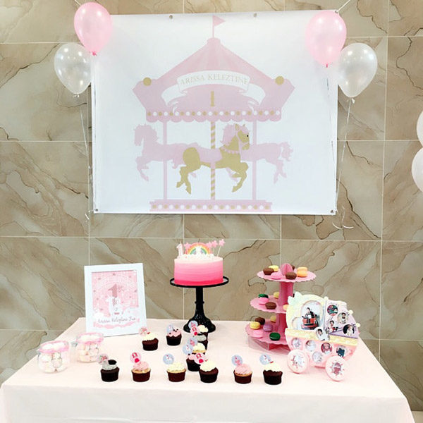 Carousel Party Backdrop in Pink and Gold Glitter