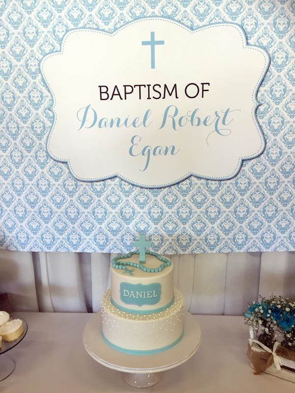 Blue Damask and Grey Boy's Baptism Backdrop