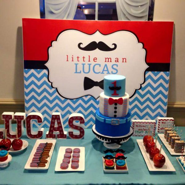 Little Man Birthday in Blue and Red