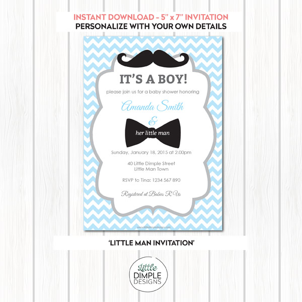 Little man mustache and bow tie baby shower printable invitation little man invitation in blue and silver pronofoot35fo Image collections
