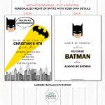 Modern Batman Printable Invitation