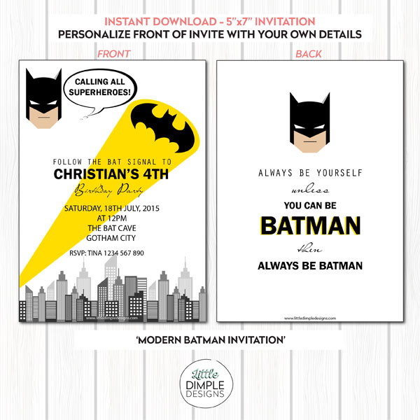 Modern Batman Printable Invitation