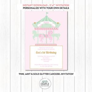 Carousel Invitation Pink Mint Gold