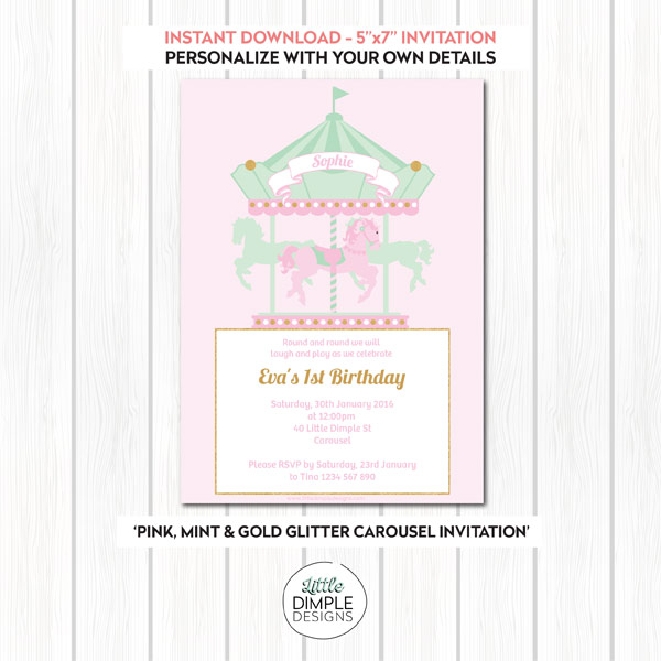 Carousel Invitation Pink Mint Gold
