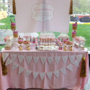 First Holy Communion Backdrop in Pink Damask & Gold Glitter