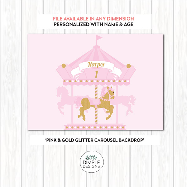 Carousel Printable Backdrop in Pink and Gold Glitter