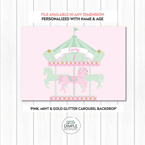 Carousel Printable Backdrop in Pink Mint and Gold Glitter