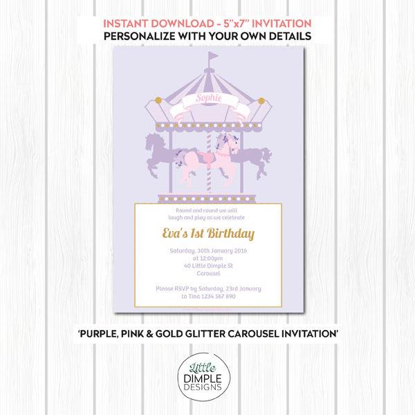 Carousel Invitation Purple Pink Gold