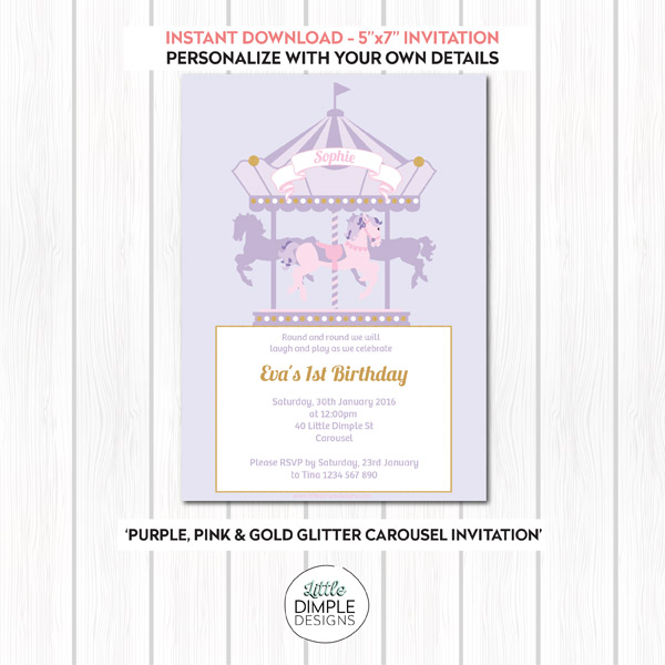 Carousel Invitation Purple Pink Gold