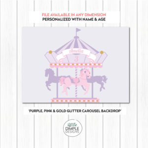 Carousel Backdrop Purple Pink Gold