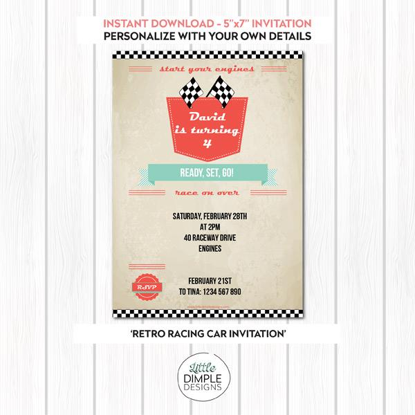 Retro Racing Car Invitation