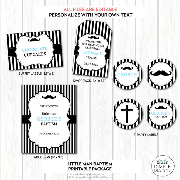 Little Man Printable Baptism Decor