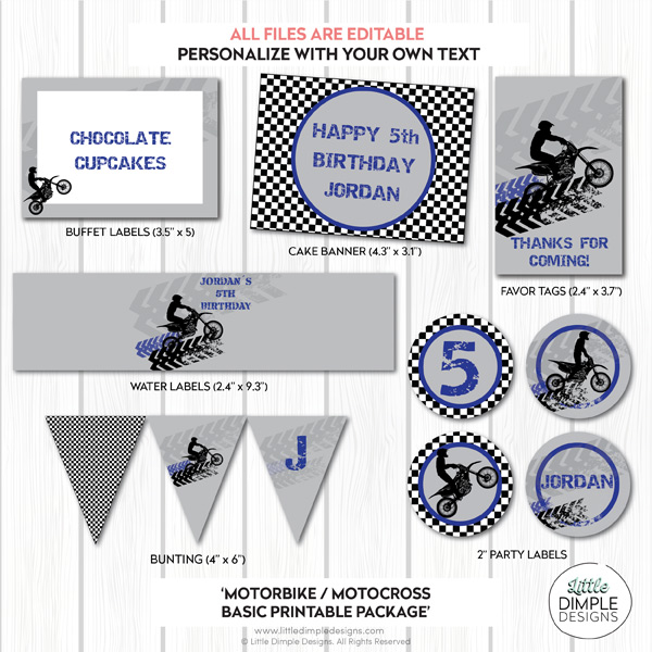 Motorbike / Motocross / Dirt Bike Printable Party Package