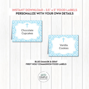 Blue and Gray Buffet Labels