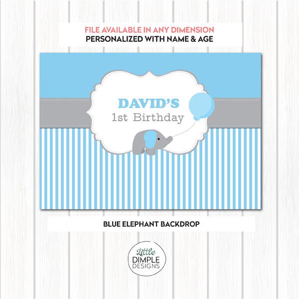 Blue Elephant Digital Backdrop