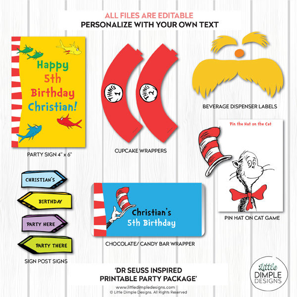 Dr Seuss Complete Printable Party Package