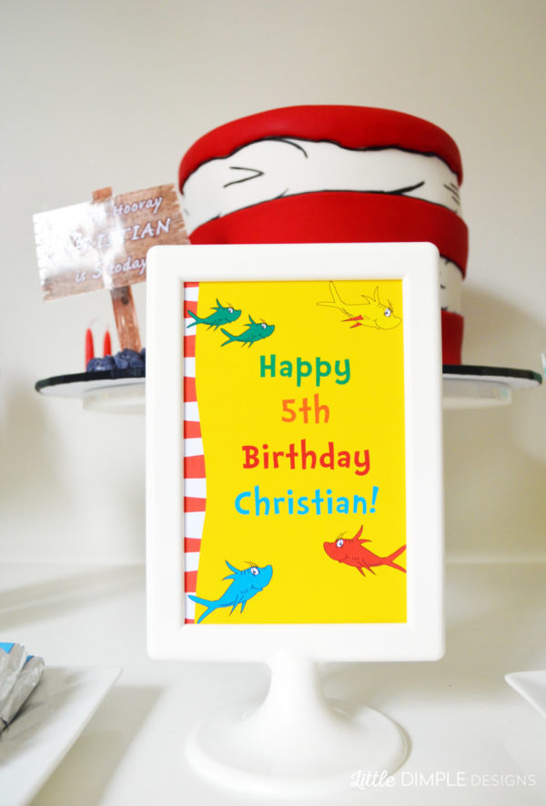 Dr Seuss Party Table Sign